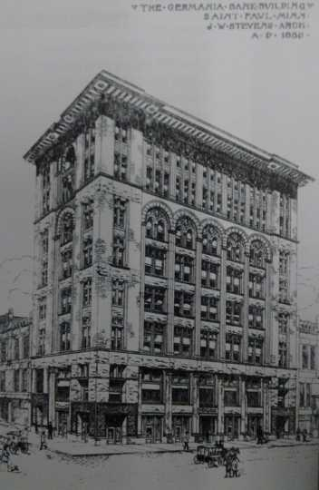 Drawing of the Germania Bank's exterior.