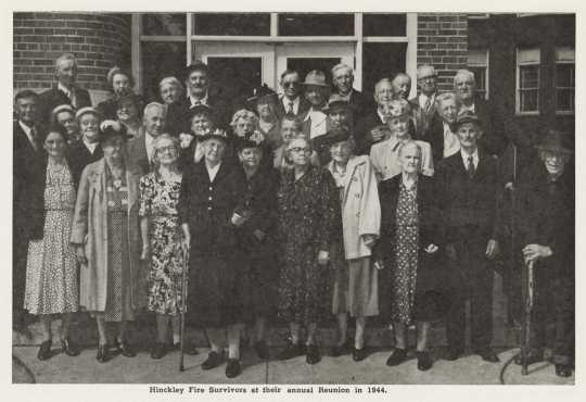 Photograph of survivors of the 1894 Hinckley fire taken at the reunion held on the fiftieth anniversary of the fire, 1944. From the Betty Moore and family papers, 1848–1973 (bulk 1920–1950s), P2698, box 2. Manuscripts Collection, Minnesota Historical Society, St. Paul.