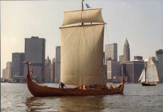 Color image of the Hjemkomst in New York Harbor. Photograph by Rose Asp, 1982. From the Rose Asp Collection, Historical and Cultural Society of Clay County.