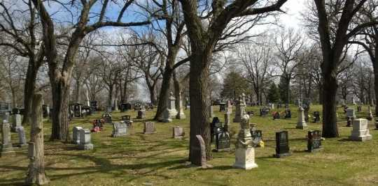 Color image of Hmong graves at Oakland Cemetery, St. Paul