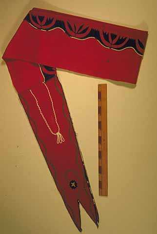 Ojibwe appliqued and beaded wool sash