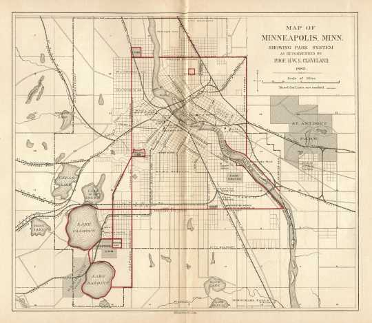 Map detailing Cleveland's proposal for a system of parkways in Minneapolis, 1883.
