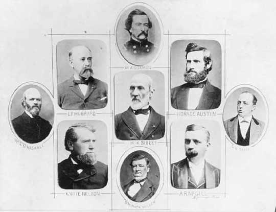 Governors of Minnesota: W.A. Gorman, Horace Austin, C.K. Davis, A.R. McGill, Stephen Miller, H.H. Sibley, Knute Nelson, L.F. Hubbard, William R. Marshall