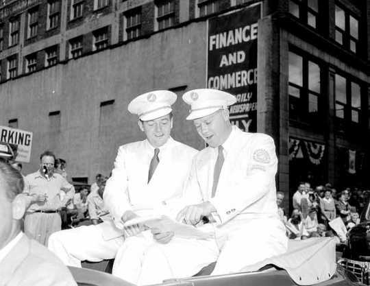 Mayor Humphrey and Aquatennial general chairman riding in the Aquatennial Parade, 1946
