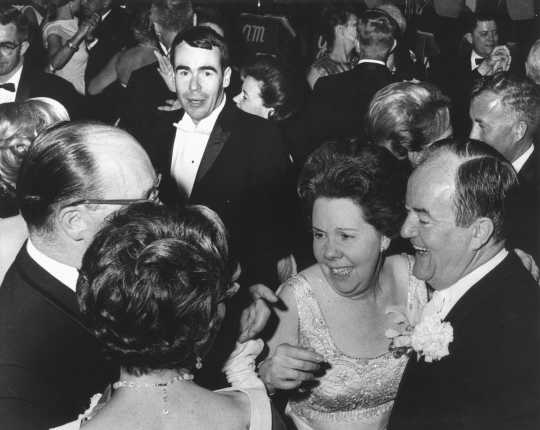 Black and white photograph of Vice-President Hubert Humphrey dancing with WAMSO President Dorothy Gauther at the 1966 Symphony Ball.