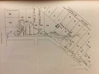 Scan of Mr. T.H. Lewis' survey of the mounds on Dayton's Bluff in 1882.