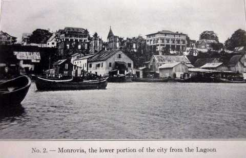 Black and white postcard of Monrovia waterfront, ca. 1900s.