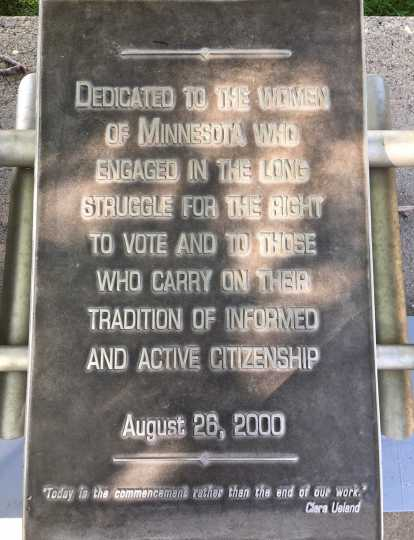 Steel tablet with the memorial dedication, 2019. Photo by Linda A. Cameron.