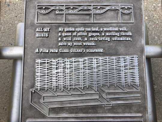 Detail of a steel tablet featuring an image of the memorial trellis and a poem from suffragist Clara Hampson Ueland's scrapbook. Photo by Linda A. Cameron.
