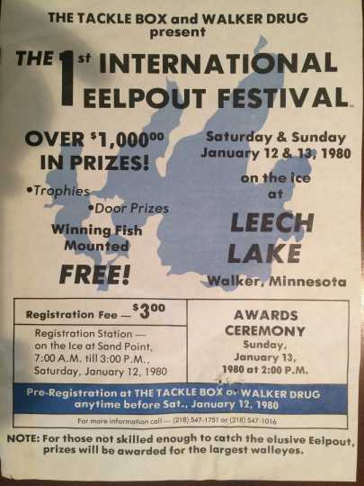 Poster from the first International Eelpout Festival, held on Leech Lake, January 13–14, 1980. From the private collection of Don Overcash, used with permission