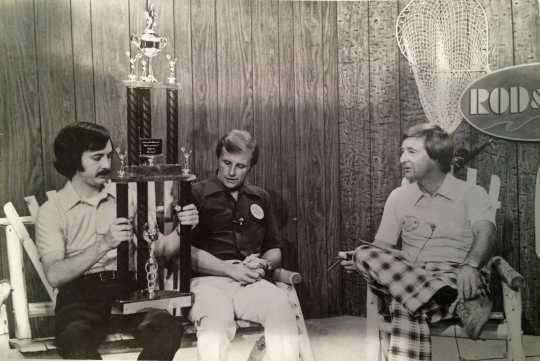 Don Overcash (left) and Ken Bresley (right) promoting the first International Eelpout Festival on a Duluth television sports show, 1980. Photo by Don Smith, Walker Pilot-Independent. Used with permission.