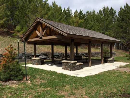 Color image of a picnic shelter in Lake Vermilion–Soudan Underground Mine State Park. Photograph by Minnesota Department of Natural Resources Staff, May 22, 2014.