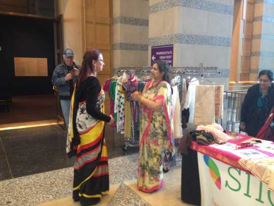 Saree-wrapping demonstration