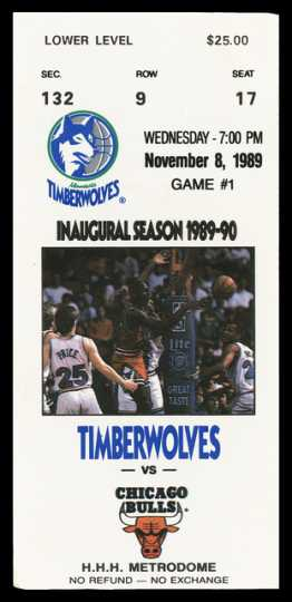 Color image of a Minnesota Timberwolves ticket to the Chicago Bulls game during the inaugural season of 1989-90, at the Hubert H. Humphrey Metrodome.