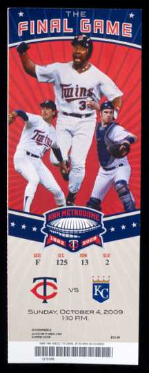 Color image of a Ticket to the final Minnesota Twins game played at the Metrodome, on October 4, 2009.
