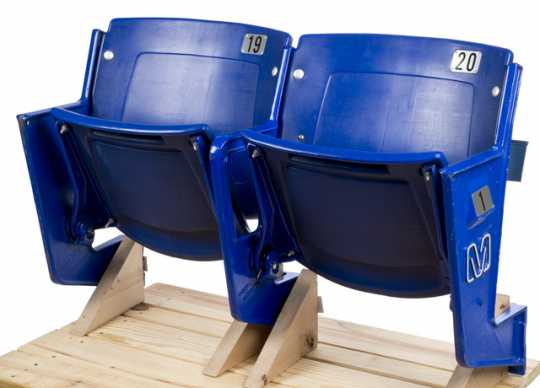 Color image of a pair of Metrodome row seats, in use from 1982–2013.