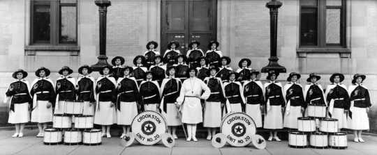 Black and white photograph of the American Legion drum and bugle corps of Crookston, ca. 1930.
