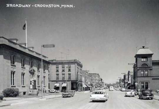 Black and white photograph of Broadway in Crookston, ca. 1950s.