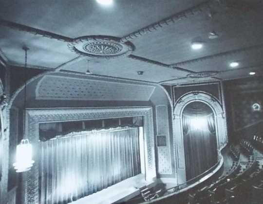 Black and white photograph of the Art deco design in ceiling, Grand Theater, date unknown.