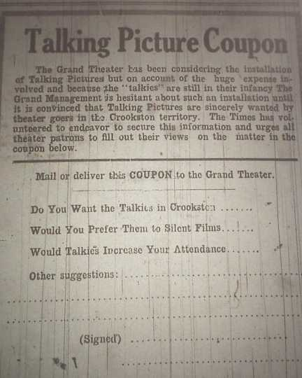 """Coupon asking for public opinion on """"talkies"""" in the Crookston Daily Times, May 21, 1929."""
