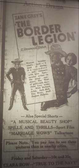 """Ad for the movie """"The Border Legion"""" in the Crookston Daily Times September 17, 1930."""