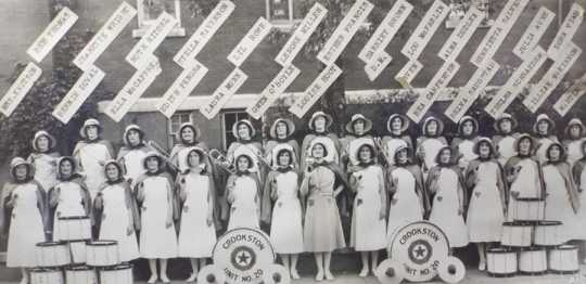 Black and white photograph of the American Legion Auxiliary champion drum and bugle corps, 1935.