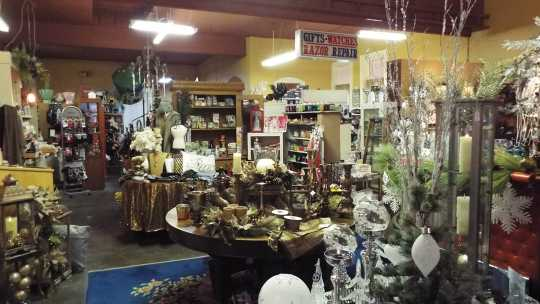 Color image of Christmas decorations in Willow and Ivy Gift Shop in Crookston city hall, 2016.