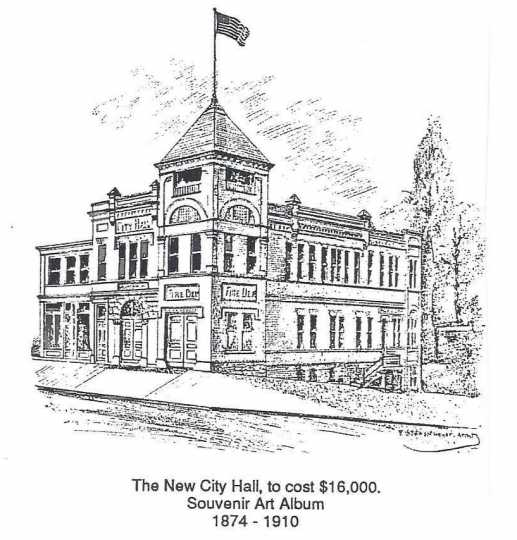 "Drawing of Crookston's city hall as depicted in the ""Souvenir Art Album 1874–1910."""