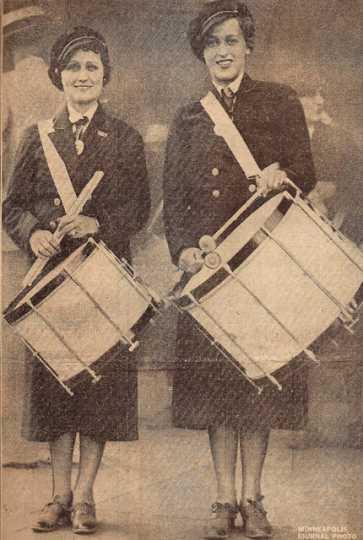 Black and white photograph of Ella McCaffrey (left) and Jane Raudiff (right) at Albert Lea American Legion Convention, 1935.