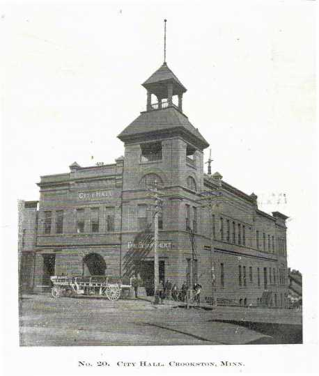 Black and white photograph of Crookston City hall, 1906.