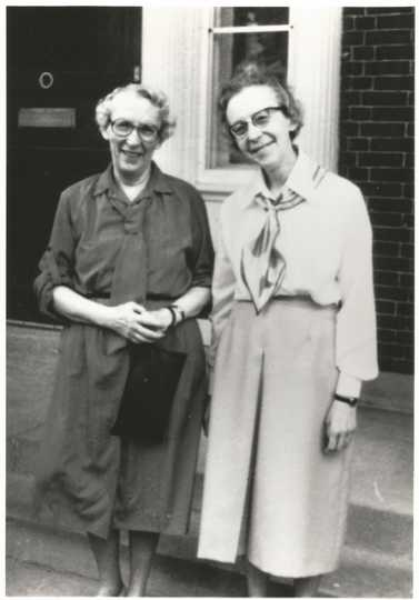Black and white photograph of Agnes Keenan (left) and her sister, Anna Keenan (Sister Immaculata, CSJ), c.1960. From the Agnes Keenan Collection. St. Catherine University Archives, St. Paul.