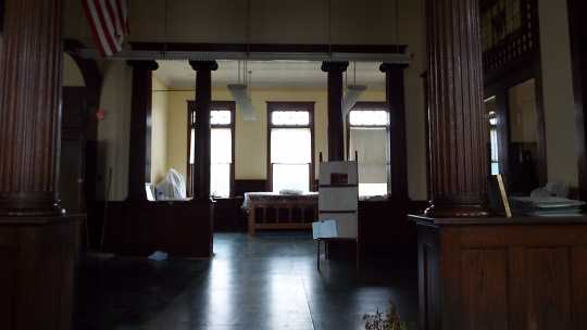Color image of the inside of the Carnegie Building, Crookston, Minnesota, 2016.