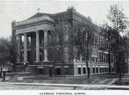 Black and white photograph of Cathedral High School, Crookston, Minnesota, ca. 1915.