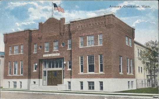 Postcard featuring the Armory in Crookston, Minnesota, ca. 1915.