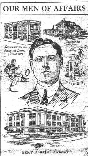 Scan of an article featuring Bert Keck in The Crookston Daily Times, ca. 1915.