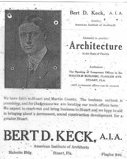 Black and white scan of an ad Keck placed in Stuart, Florida, when he moved there in 1925 and set up an architectural practice.