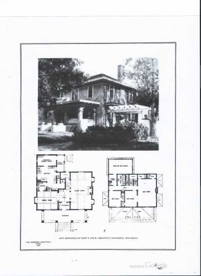 Keck's home at 716 North Broadway in Crookston, complete with floor plan, featured in Western Architect magazine, April 1912.