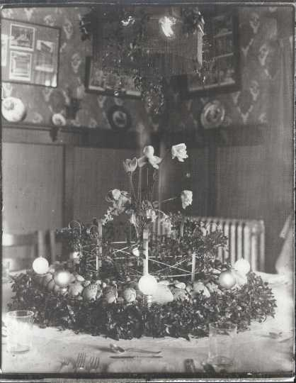 Black and white photograph of a table fountain in the dining room of Bert Keck's home, ca. 1912.