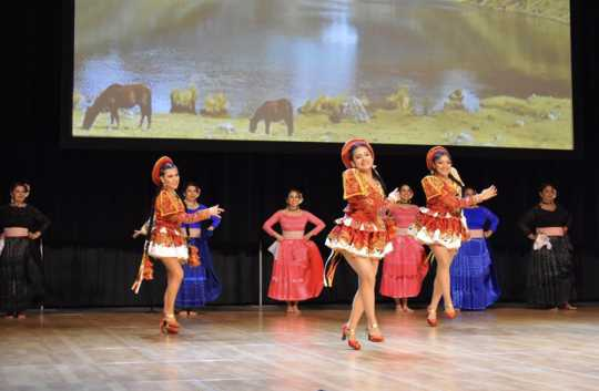 Caporales dancers on the Festival of Nations' World Stage