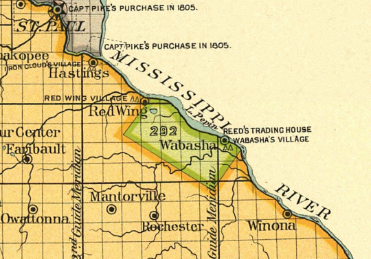 """Map detail showing the location of the """"Half-Breed"""" Tract"""