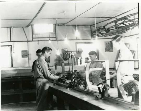Interior view of the workshop building at Camp Rabideau, ca. 1930s. Used with the permission of the Beltrami County Historical Society.