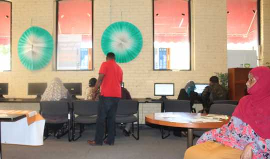 Color image of the interior of the Confederation of Somali Community in Minnesota (CSCM), 2017. Photograph by Ibrahim Hirsi.