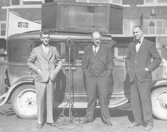 Black and white photograph of Henry G. Teigan, Magnus Johnson, and Arthur C. Townley, c.1930.