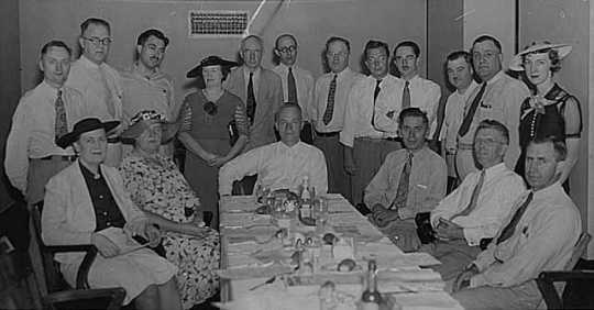 Black and white photograph of a progressives meeting, 1937.