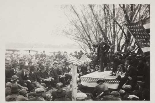 Charles A. Lindbergh Sr. speaking at a Nonpartisan League meeting