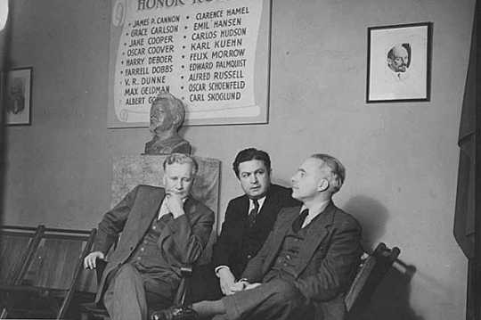 Black and white photograph of Socialist Workers Party members, ca. 1941. Left to right: James Cannon, Felix Marrow, and Albert Goldman.
