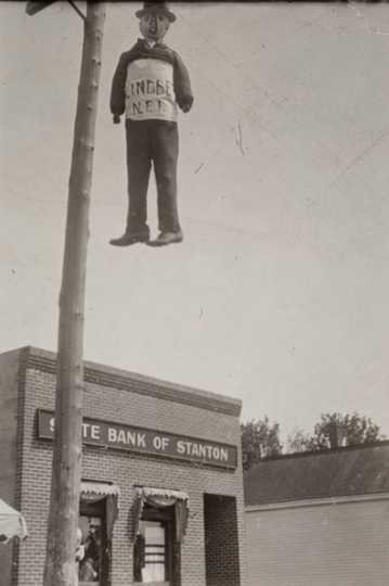 Black and white photograph of effigy of Charles A. Lindbergh hanging in Stanton, c.1918.