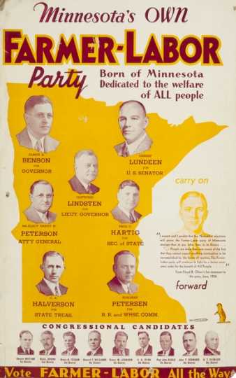 "Color image of a poster titled, ""Minnesota's own Farmer-Labor party,"" 1936."