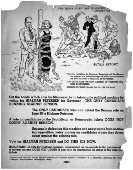 Campaign literature for Hjalmar Petersen, Farmer-Labor Party candidate for Governor, 1938.