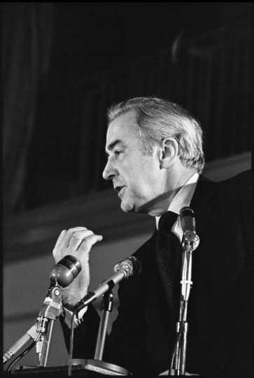Black and white photograph of Senator Eugene McCarthy speaking at St. John's University, 1968.